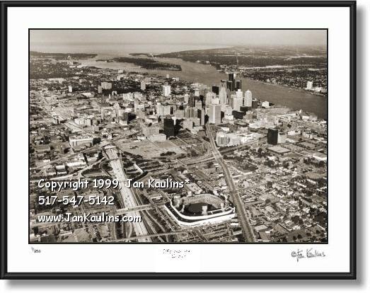 Detroit aerial skyline picture photo MOTOR CITY