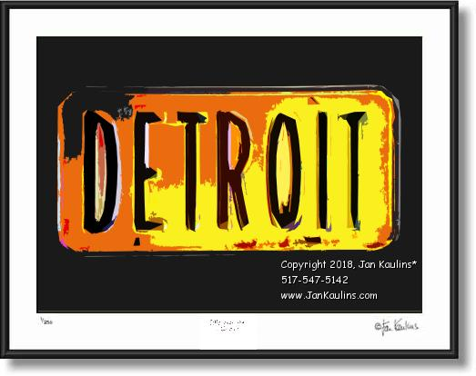 Click on this image to see an enlarged view of DETROIT License Plate photo fine-art photo print.
