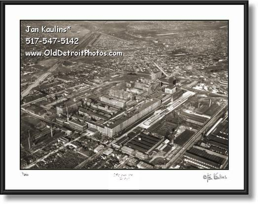 Click on this image to see an enlarged view of Old PACKARD PLANT AERIAL photo print 1930's.