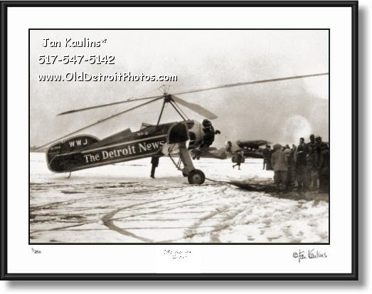 Click on this image to see an enlarged view of Detroit News Pitcairn PCA-2 Autogyro 1931 photo.