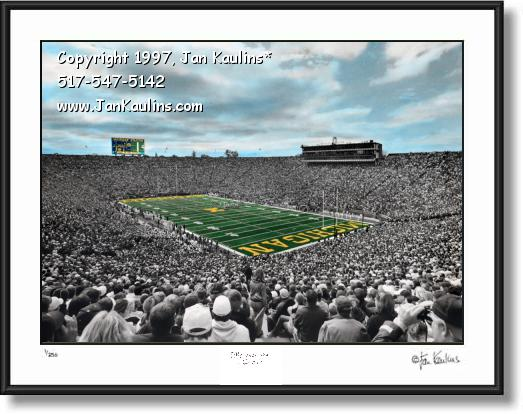 Click on this image to see an enlarged view of MICHIGAN STADIUM Hand-colored photo print.