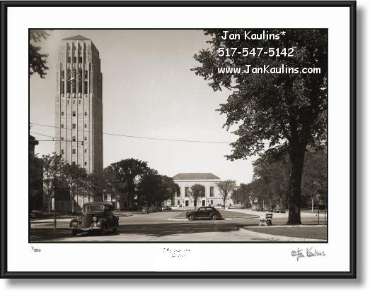 Old BURTON TOWER Ann Arbor photo print 1939