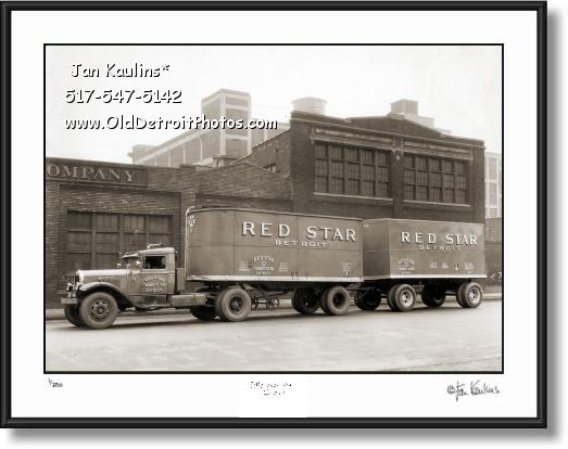 Click on this image to see an enlarged view of Old DETROIT RED STAR TRANSIT CO. photo print.