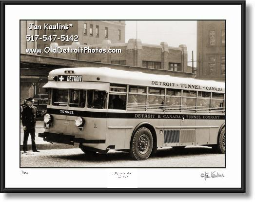 DETROIT TUNNEL CANADA OLD BUS photo print