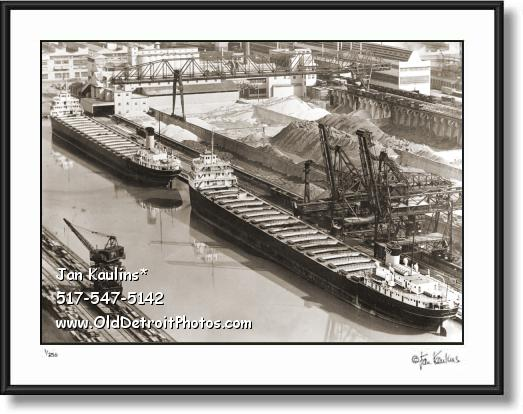 FORD ROUGE PLANT ORE BOATS 1946 photo print
