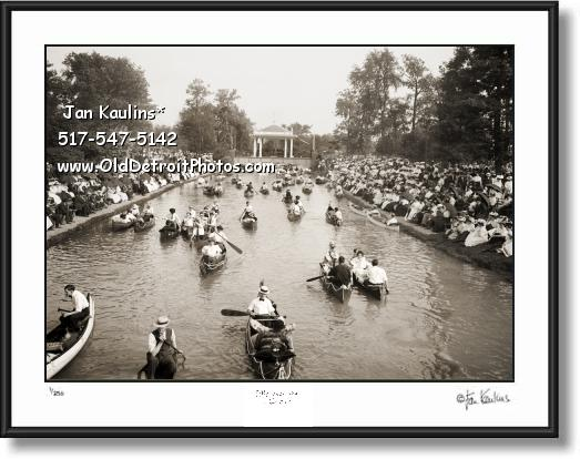 Old BELLE ISLE DETROIT Canoe Rides photo print