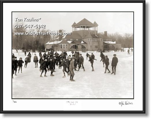 BELLE ISLE  SKATING PAVILION 1910 photo print