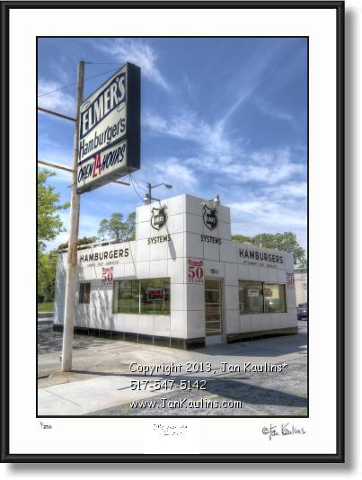 Click on this image to see an enlarged view of ELMERS HAMBURGERS DETROIT photo art print.
