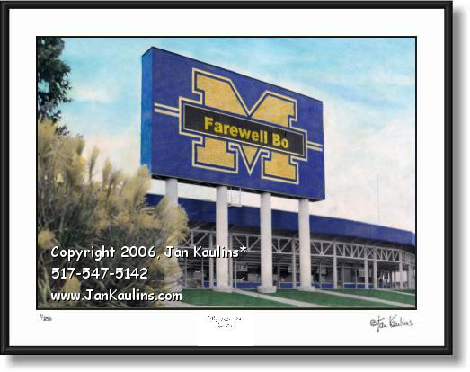 Click on this image to see an enlarged view of Farewell Bo Schembechler UofM picture photo.