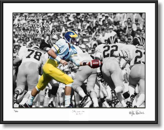 Click on this image to see an enlarged view of JIM HARBAUGH 1986 UofM photo picture print.