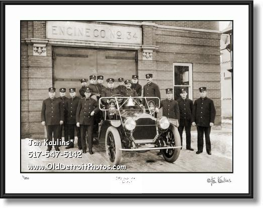 Click on this image to see an enlarged view of DETROIT 1911 FIRE HOUSE Engine Co. 34 photo.