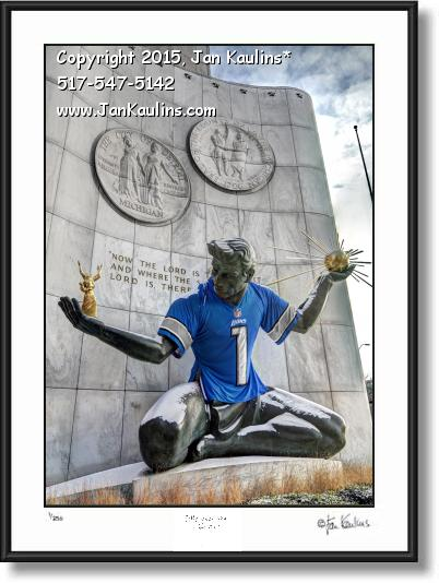 Click on this image to see an enlarged view of SPIRIT OF DETROIT LIONS JERSEY print photo.