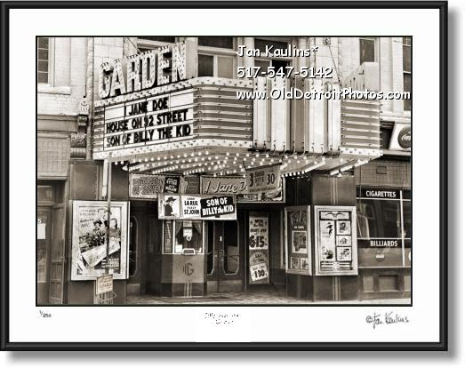 GARDEN THEATER Detroit Old photo picture print