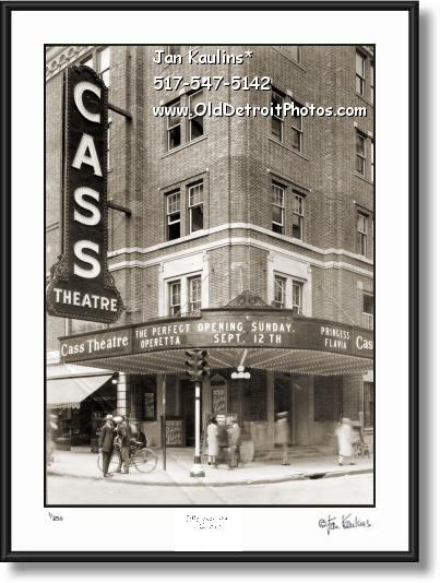 Click on this image to see an enlarged view of CASS THEATER DETROIT photo Cass Theatre print.