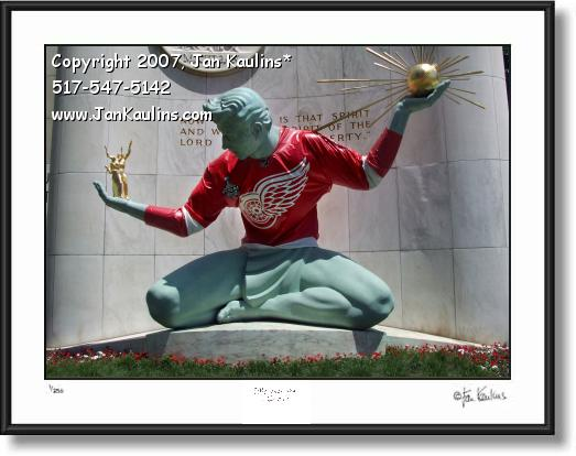 SPIRIT OF DETROIT RED WINGS jersey art print