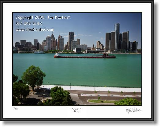 Click on this image to see an enlarged view of Detroit skyline DETROIT SKYLINE photo Ore Boat.