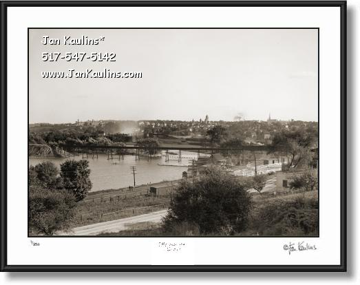 Old Ann Arbor Huron River Dam photo print 1909