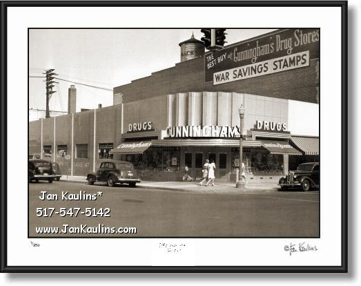 Click on this image to see an enlarged view of ANN ARBOR CUNNINGHAMS 1940's photo print.