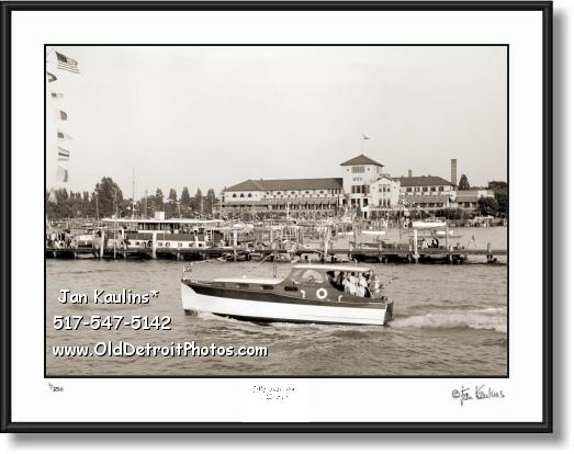 Click on this image to see an enlarged view of DYC DETROIT YACHT CLUB vintage old photo print.
