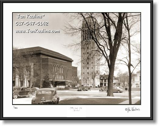 Click on this image to see an enlarged view of BURTON TOWER Ann Arbor 1940's photo print.