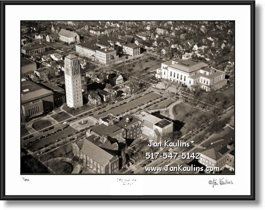 Click on this image to see an enlarged view of ANN ARBOR aerial photo 1946 Burton Tower.