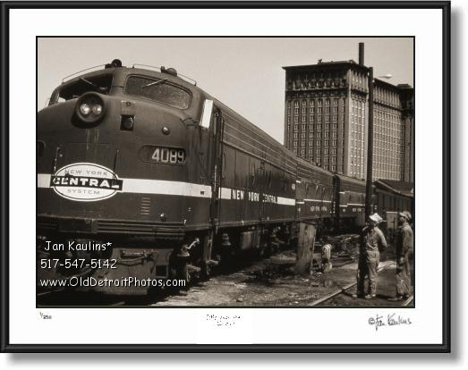 Click on this image to see an enlarged view of MICHIGAN CENTRAL TRAIN DEPOT art print.
