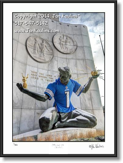 Click on this image to see an enlarged view of DETROIT LIONS SPIRIT OF DETROIT photo print.