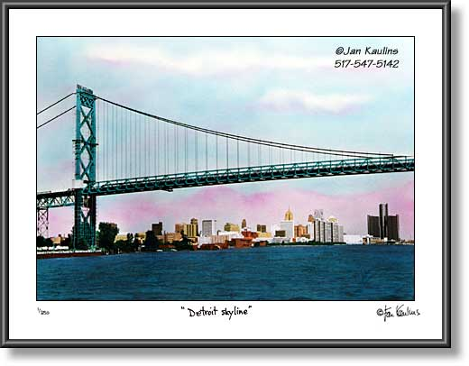 Click on this image to see an enlarged view of Ambassador Bridge photo Detroit Skyline photo.