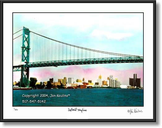 Detroit Skyline Ambassador Bridge photo print