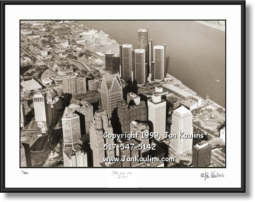 DETROIT skyline aerial skyline picture photo print
