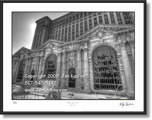 Click on this image to see an enlarged view of Michigan Central Depot black white photo print.