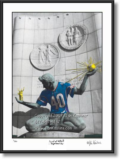 Spirit of Detroit SuperBowl XL picture photo print