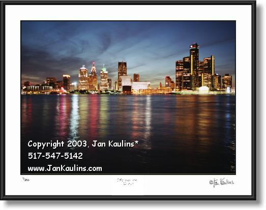 Click on this image to see an enlarged view of DETROIT SKYLINE dusk photo print photograph.