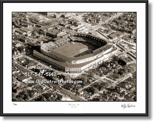 Click on this image to see an enlarged view of BRIGGS STADIUM Briggs Stadium photo aerial.
