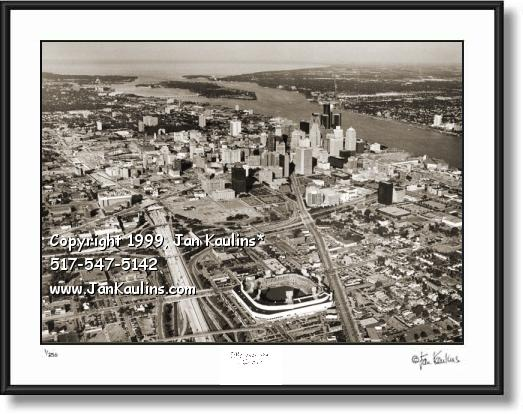Click on this image to see an enlarged view of Detroit aerial picture DETROIT aerial photo print.