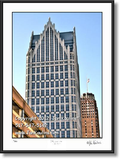 Click on this image to see an enlarged view of COMERICA TOWER DETROIT photo picture print.