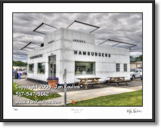 Click on this image to see an enlarged view of GREENE'S HAMBURGERS Detroit photo art print.