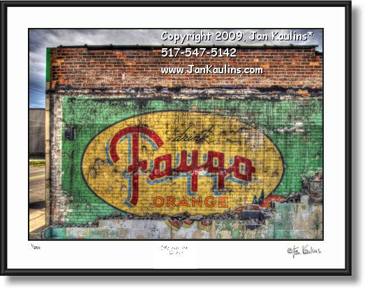 Click on this image to see an enlarged view of FAYGO MURAL old Faygo Detroit photo print.