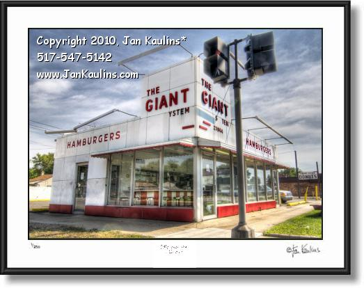Click on this image to see an enlarged view of GIANT HAMBURGERS Dearborn photo art print.
