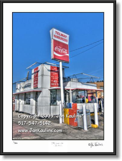 Click on this image to see an enlarged view of TELWAY HAMBURGERS Detroit photo art print.