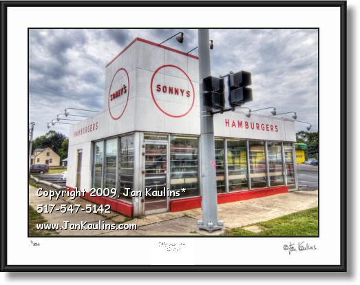 Click on this image to see an enlarged view of SONNY'S HAMBURGERS Redfor MI photo art print.