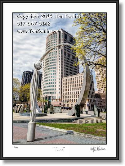 Click on this image to see an enlarged view of MADDEN BLDG. DETROIT Labor Legacy Arch photo.