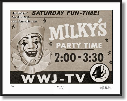 Click on this image to see an enlarged view of MILKY THE CLOWN Party Time Ad print photo.