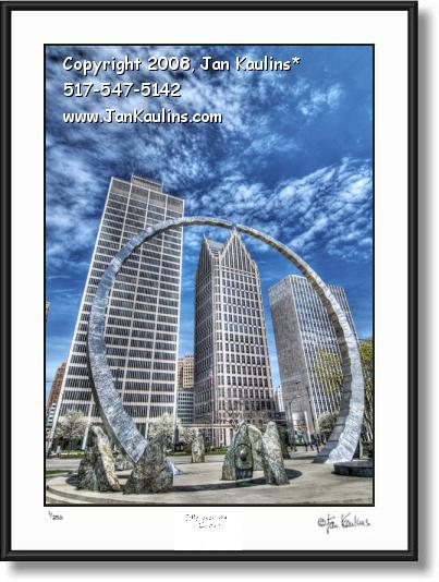 Click on this image to see an enlarged view of  LABOR LEGACY ARCH Detroit photo picture print.
