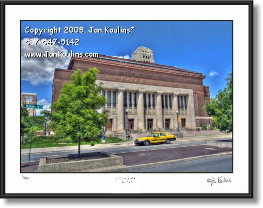 Click on this image to see an enlarged view of Hill Auditorium UofM Ann Arbor photo art print.