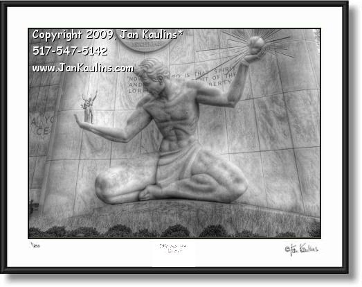 Click on this image to see an enlarged view of SPIRIT OF DETROIT black & white photo print.