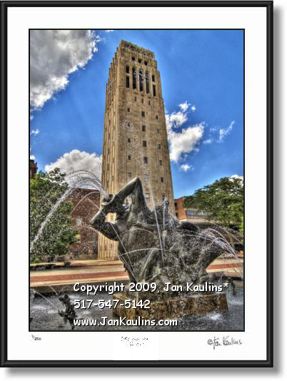 Click on this image to see an enlarged view of BURTON TOWER UofM photo art print photograph.
