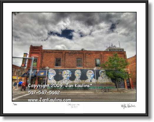Click on this image to see an enlarged view of Ann Arbor photo art print FAMOUS FACES WALL.
