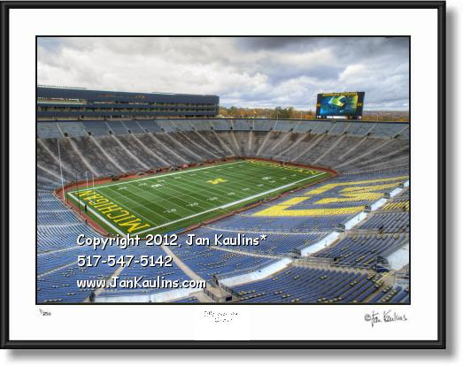 Click on this image to see an enlarged view of Empty Michigan Stadium photo Michigan Stadium.