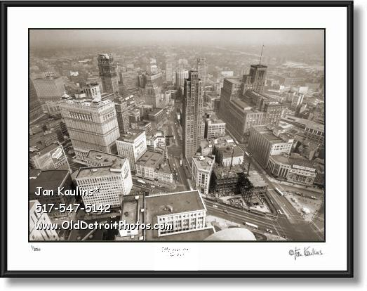 Click on this image to see an enlarged view of DETROIT AERIAL vintage old photo art print .